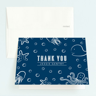 Aquatic Doodles Childrens Birthday Party Thank You Cards
