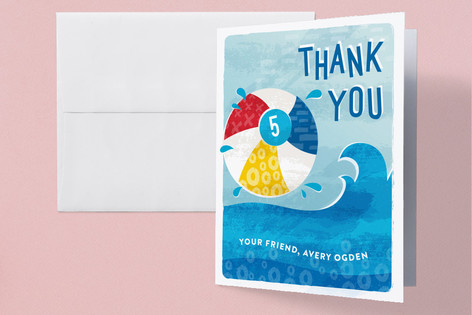 Big Splash Childrens Birthday Party Thank You Cards