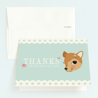 Fancy Fawn Childrens Birthday Party Thank You Cards