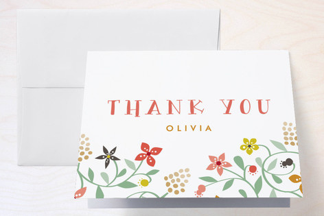 Botanical Affair Childrens Birthday Party Thank You Cards