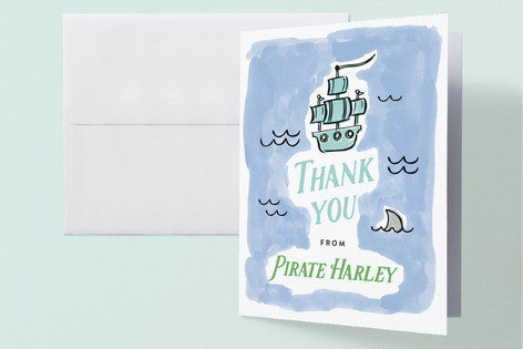 Pirate's Map Childrens Birthday Party Thank You Cards