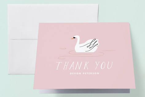 Soft Swan Childrens Birthday Party Thank You Cards