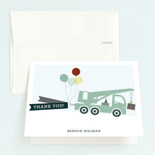 Trucks on Parade Childrens Birthday Party Thank You Cards