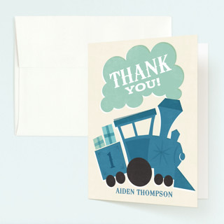 Terrific Train Childrens Birthday Party Thank You Cards