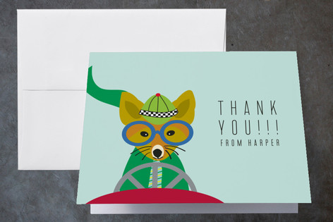 Race Car Party Childrens Birthday Party Thank You Cards