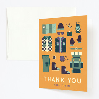 Let's Camp Childrens Birthday Party Thank You Cards