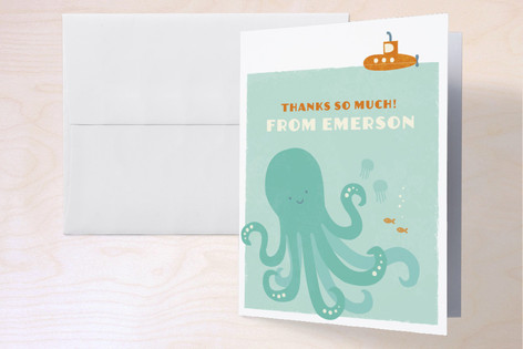 Underwater Explorer Childrens Birthday Party Thank You Cards