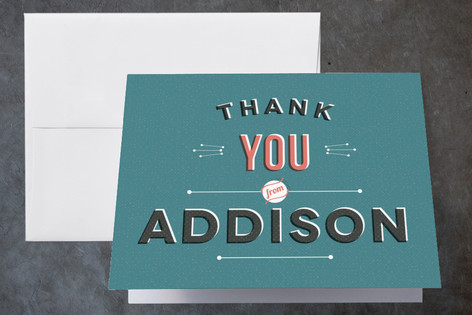 Layered Vintage Childrens Birthday Party Thank You Cards
