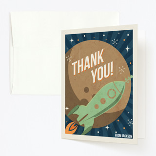 Retro Rocket Childrens Birthday Party Thank You Cards