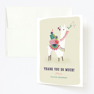 Party Llama Childrens Birthday Party Thank You Cards