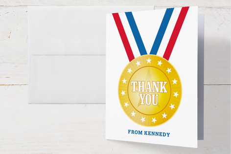 Go For The Gold Childrens Birthday Party Thank You Cards