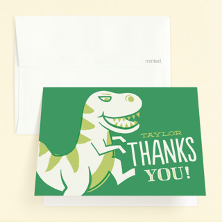 T-rex Riot Childrens Birthday Party Thank You Cards