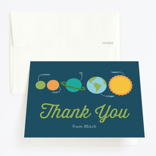 Outer Space Childrens Birthday Party Thank You Cards