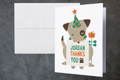 Puppy Party Childrens Birthday Party Thank You Cards