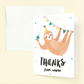 Party Sloth Childrens Birthday Party Thank You Cards