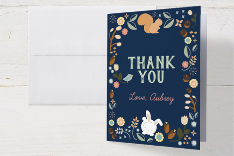 Sleepy Forest Childrens Birthday Party Thank You Cards