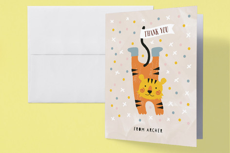 Fun Circus Childrens Birthday Party Thank You Cards
