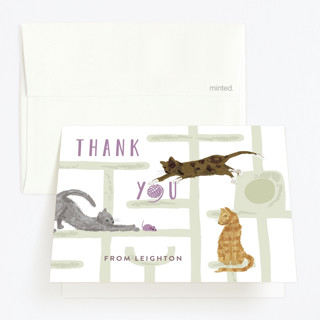 Purrefect Kittens Childrens Birthday Party Thank You Cards
