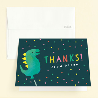 Dinosaur Balloon Childrens Birthday Party Thank You Cards