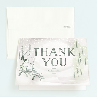 Winter Train Childrens Birthday Party Thank You Cards