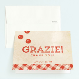 Let's Make Pizza Childrens Birthday Party Thank You Cards