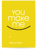 You make me smile Classroom Valentine's Day Cards