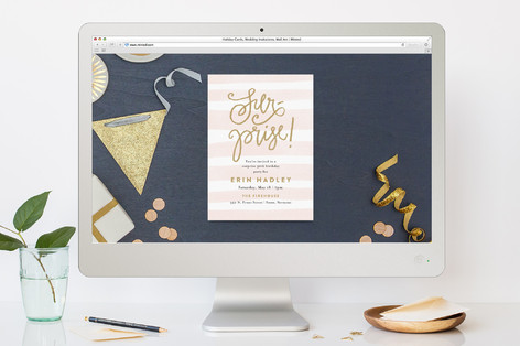 Striped Surprise Birthday Party Online Invitations