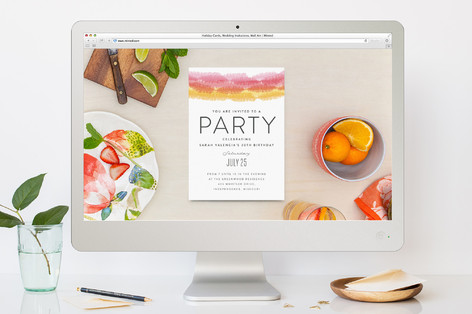 Streamers Birthday Party Online Invitations