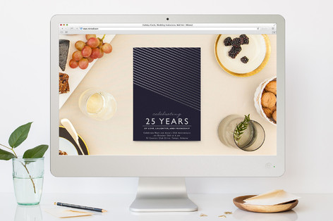 Midnight Modern Anniversary Party Online Invitations