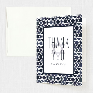 Starred Frame Bris and Baby Naming Thank You Card