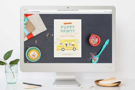 Puppy Pawty Children's Birthday Party Online Invitations