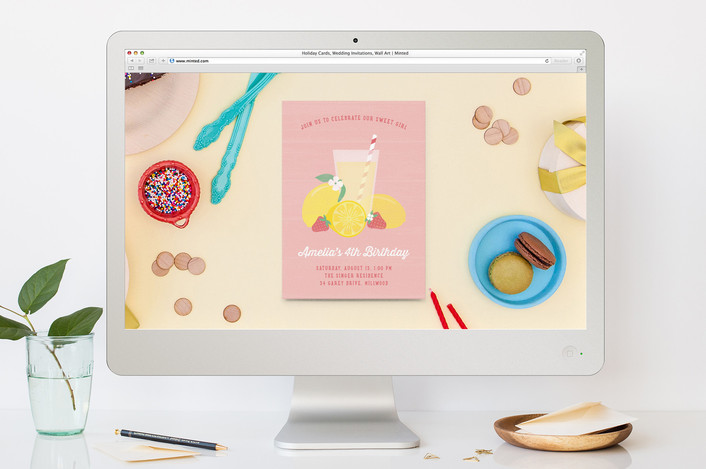 Pink Lemonade Childrens Birthday Party Online Invitations