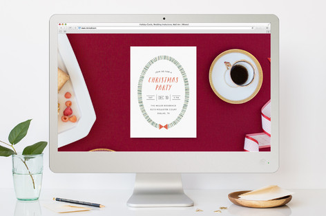 Dashed Wreath Christmas Online Invitations