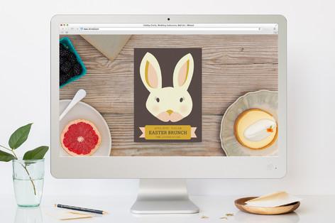 Easter Bunny Brunch Ribbon Easter Online Invitations