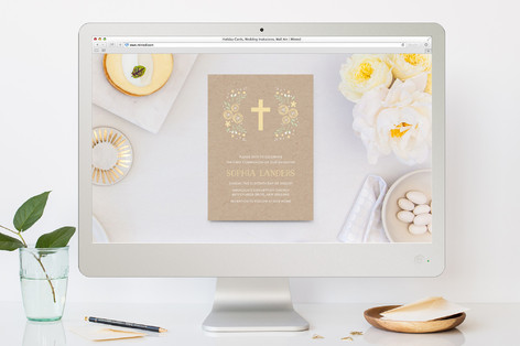 Cross Flowers First Holy Communion Online Invitations