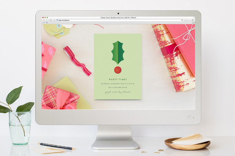 Holly Exclamation Point Holiday Party Online Invitations