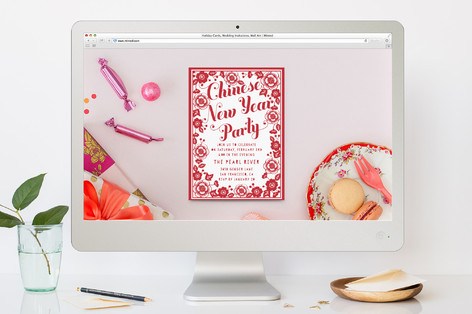 Chinese New Year Floral Papercut Lunar New Year Online Invitations