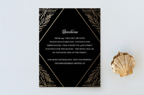 Feathered Foliage Foil-Pressed Direction Cards