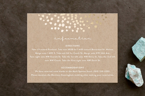 Dappled Foil-Pressed Direction Cards