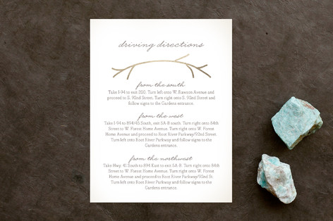 Nestled Foil-Pressed Direction Cards