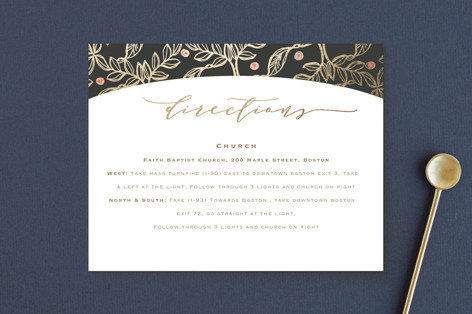 Floral Sprigs Foil-Pressed Direction Cards