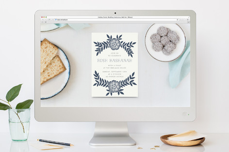 Festive Leaves Rosh Hashanah Online Invitations