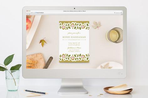 Poms & Leaves Rosh Hashanah Online Invitations