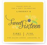 Gold Sixteen Teen Birthday Party Online Invitations
