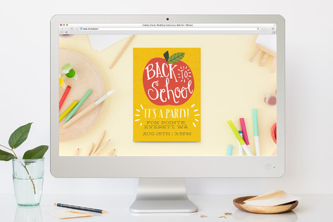 Back To School Apple Back-To-School Party Online Invitations