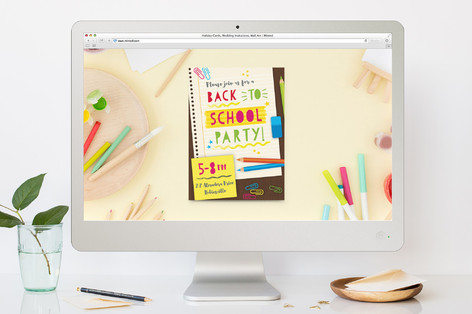 Study Table Back-To-School Party Online Invitations