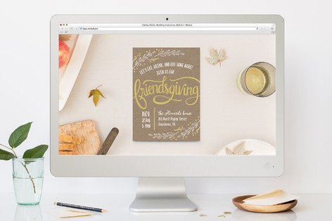 Friendsgiving Wreath Thanksgiving Online Invitations