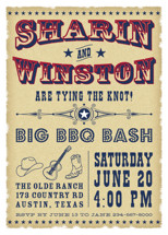 Vintage Western Engagement Party Invitations