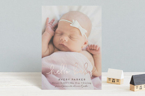 Hello Sweet baby Foil-Pressed Birth Announcement Postcards