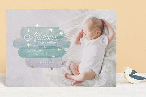 Artfully Named Foil-Pressed Birth Announcement Postcards